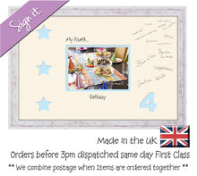 "4th - My Fourth Birthday with Stars Signing Guest Photo Frame Double Mounted Gift 1st 7""x5"" photo 706D 450mm x 297mm mount size , Choices of frames & Borders"