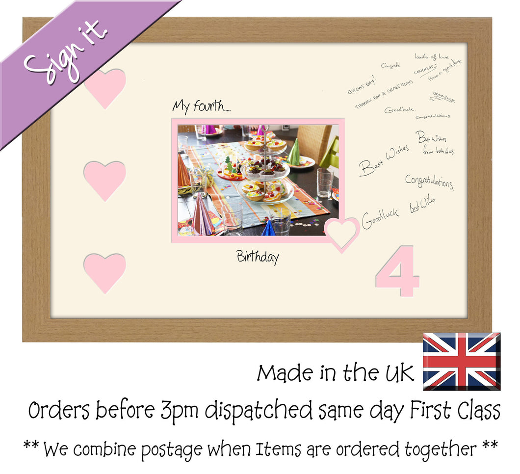 4th - My Fourth Birthday with Hearts Signing Guest Photo Frame Double Mounted Gift 1st 7