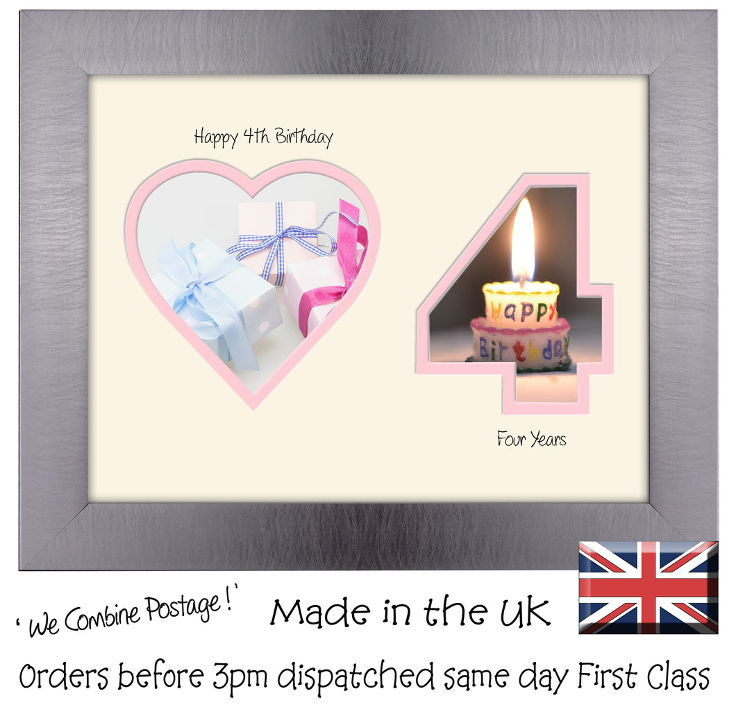 4th Birthday Photo Frame - 4th Birthday with Heart Landscape photo frame 1165F 9