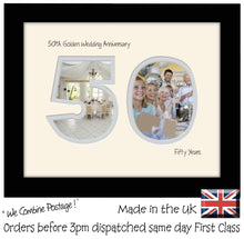 "50th Golden Wedding Anniversary Photo Frame - Fiftieth  Anniversary Landscape photo frame 1194F 9""x7"" mount size  , Choices of frames & Borders"