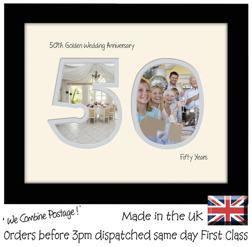 50th Golden Wedding Anniversary Photo Frame - Fiftieth  Anniversary Landscape photo frame 1194F 9