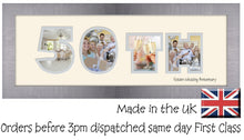 50th Golden Wedding Anniversary Double Mounted Photo Frame 863A 450mm x 151mm mount size  , Choices of frames & Borders