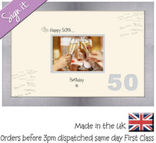 "50th Birthday Signing Guest Photo Frame Gift 7""x5"" Photo by Photos in a Word 672D 450mm x 297mm mount size  , Choices of frames & Borders"