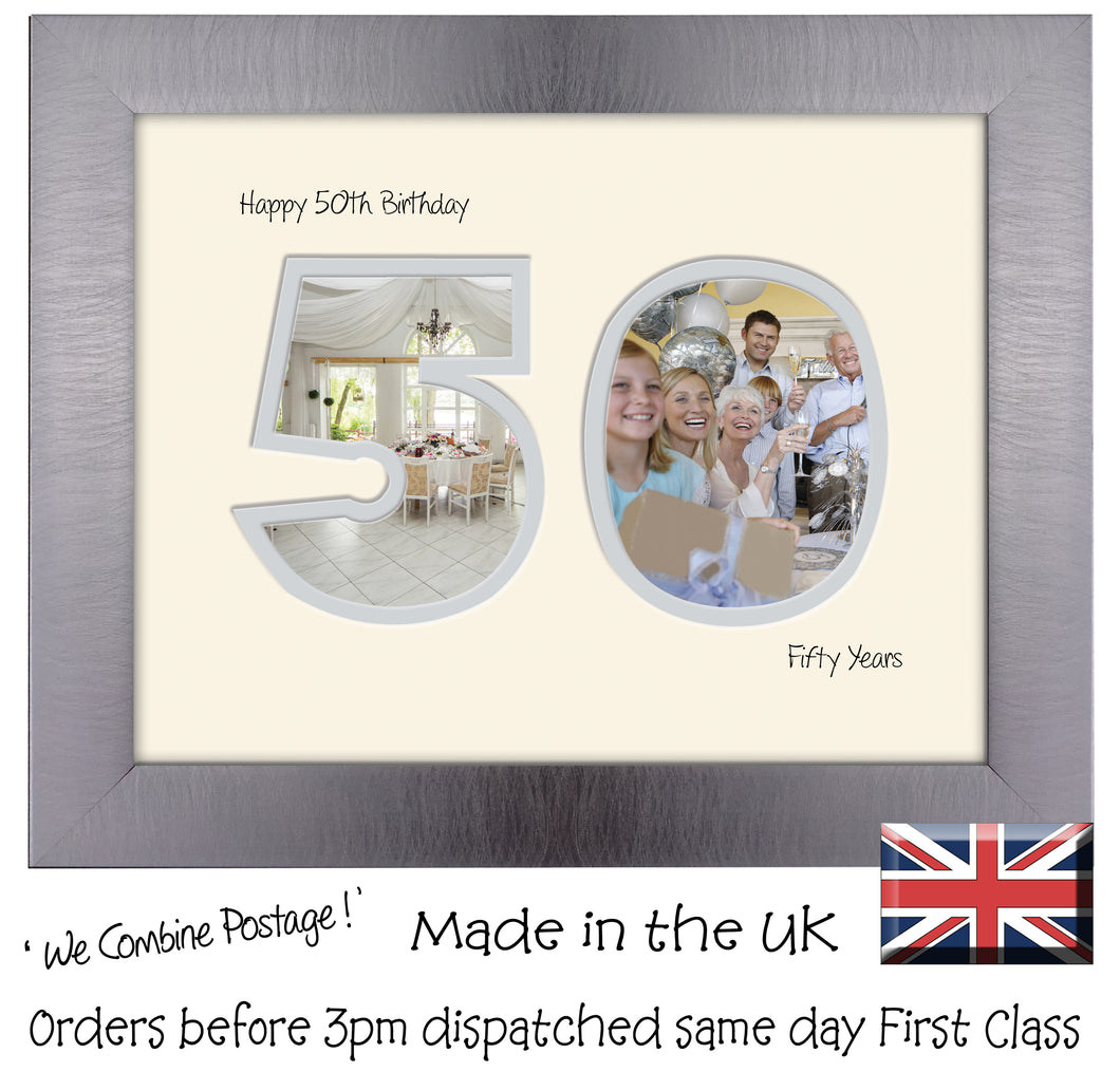 50th Birthday Photo Frame - Fiftieth Birthday Landscape photo frame 1184F 9