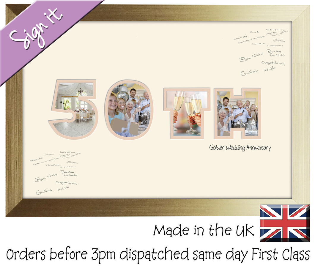 50th Golden Wedding Anniversary Signing Double Mounted Photo Frame