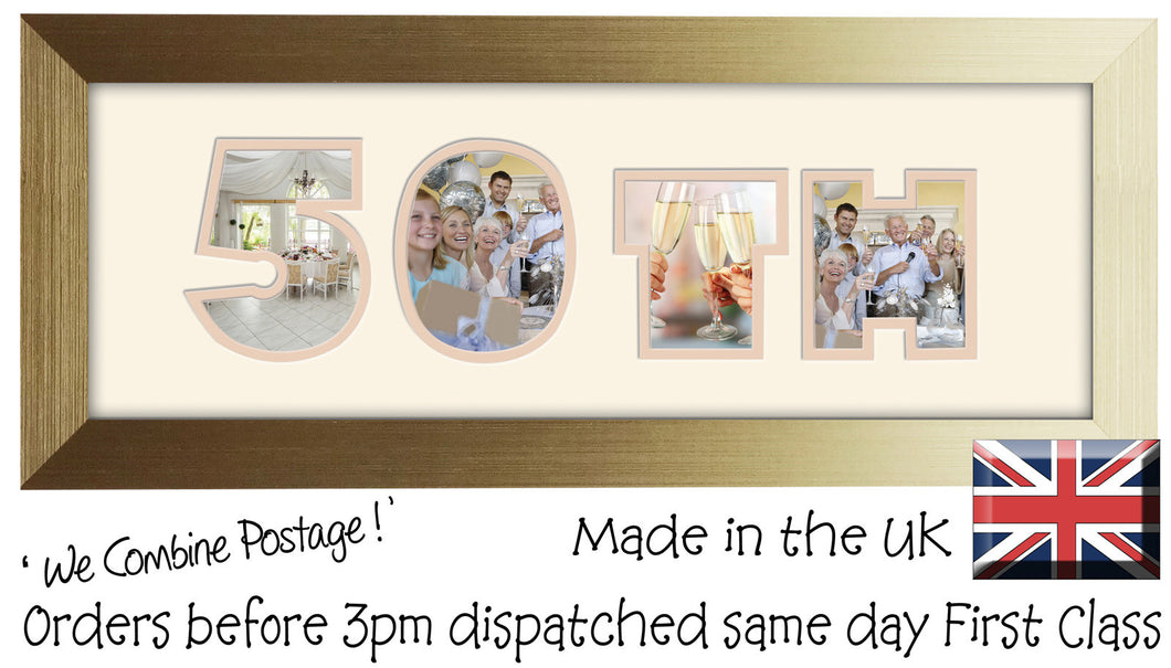 50th Birthday Anniversary Double Mounted Photo Frame 853A 450mm x 151mm mount size  , Choices of frames & Borders