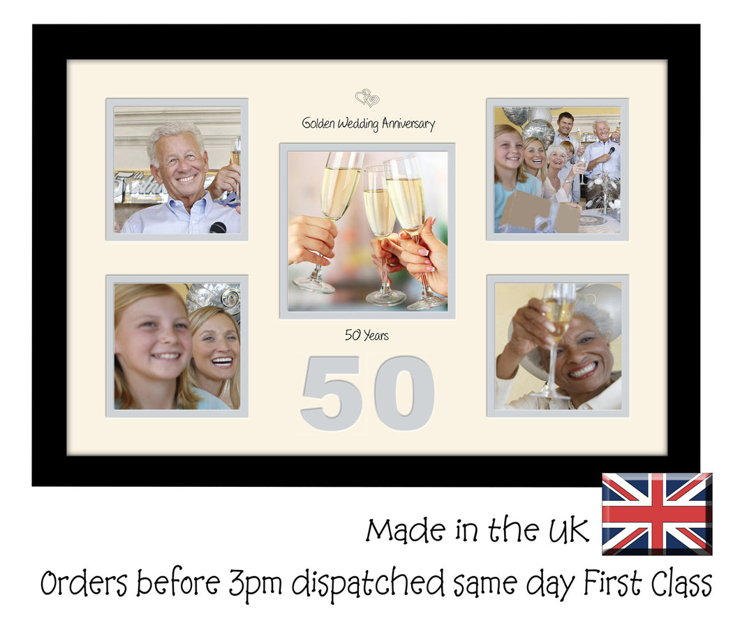 50th Golden Wedding 4x4 X4 And 5x5 Square Boxes Photo Frame