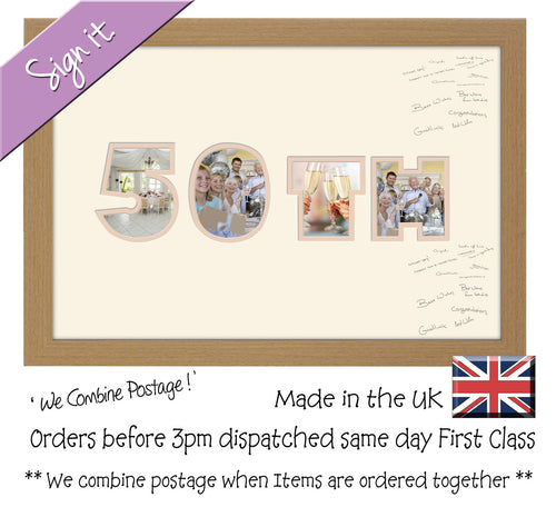 50th Birthday Anniversary Signing Double Mounted Photo Frame 873D 450mm x 297mm mount size  , Choices of frames & Borders