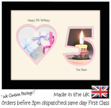 "5th Birthday Photo Frame - 5th Birthday with Heart Landscape photo frame 1167F 9""x7"" mount size  , Choices of frames & Borders"