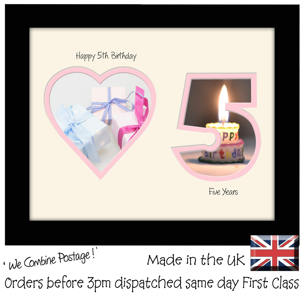 5th Birthday Photo Frame - 5th Birthday with Heart Landscape photo frame 1167F 9
