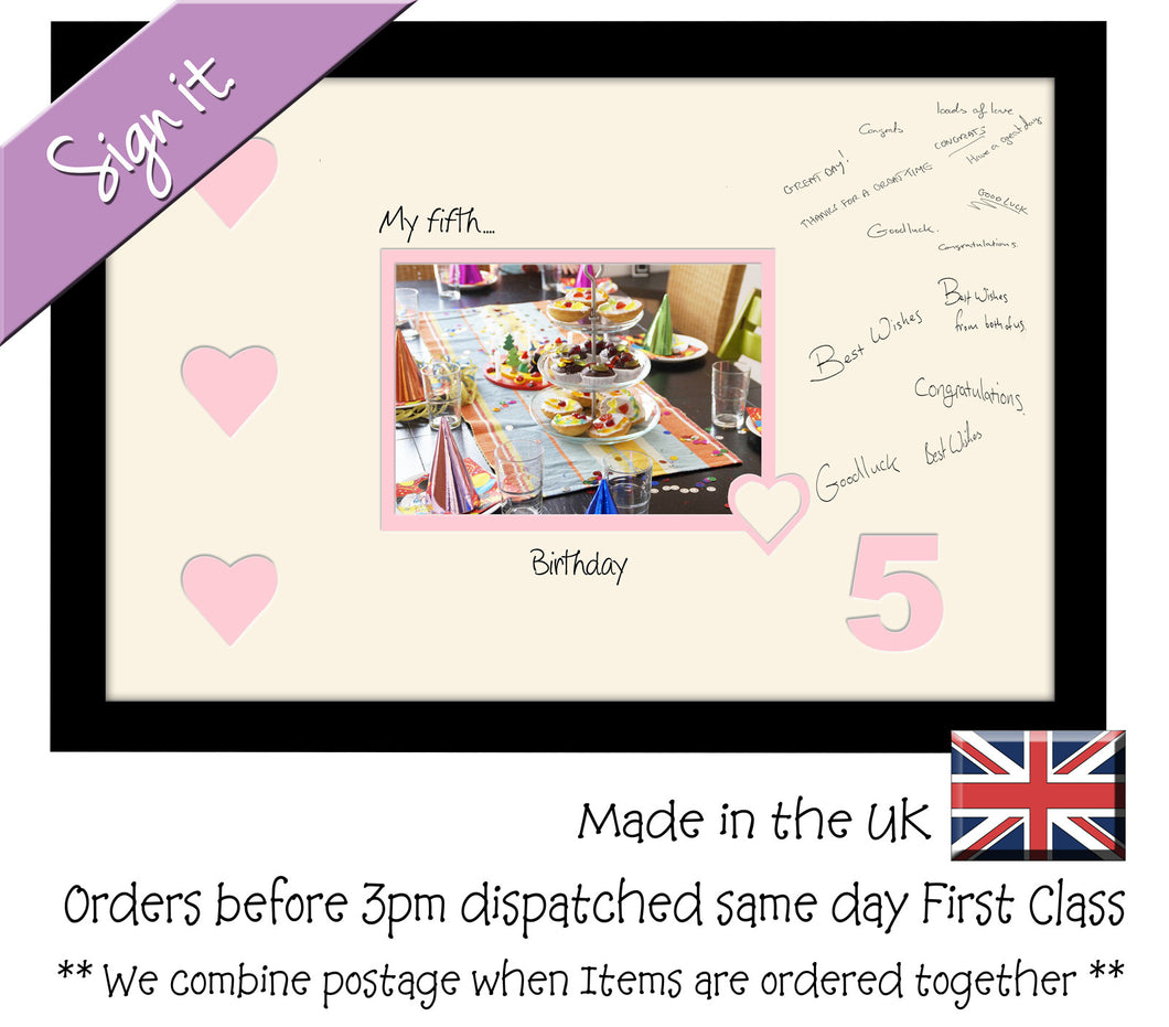 5th - My Fifth Birthday with Hearts Signing Guest Photo Frame Double Mounted Gift 1st 7