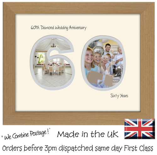 60th Damond Wedding Anniversary Photo Frame - Sixtieth  Anniversary Landscape photo frame 1195F 9