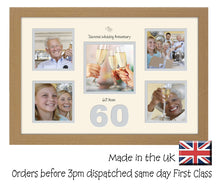 "60th Diamond Wedding 4""x4"" x4 and 5""x5"" Square Boxes Photo Frame Double Mounted 978D 450mm x 297mm  mount size , Choices of frames & Borders"
