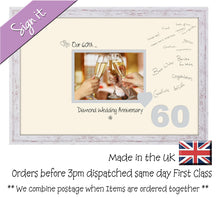 "60th Diamond Wedding Signing Guest Photo Frame Gift 7""x5"" Photo by Photos in a Word 694D 450mm x 297mm mount size  , Choices of frames & Borders"