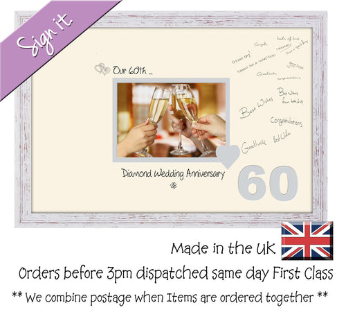 60th Diamond Wedding Signing Guest Photo Frame Gift 7