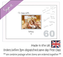 "60th Birthday Signing Guest Photo Frame Gift 7""x5"" Photo by Photos in a Word 676D 450mm x 297mm mount size  , Choices of frames & Borders"