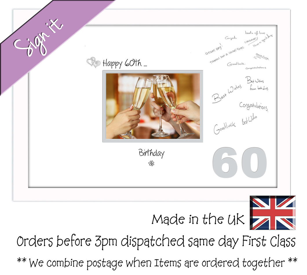 60th Birthday Signing Guest Photo Frame Gift 7