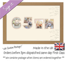 65th Birthday Anniversary Signing Double Mounted Photo Frame 875D 450mm x 297mm mount size  , Choices of frames & Borders