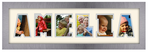 6 Letter Photo Frame - Double Mounted Six Letter Custom Personalised Word Photo Frame 1266CC 545mm x 151mm mount size  , Choices of frames & Borders