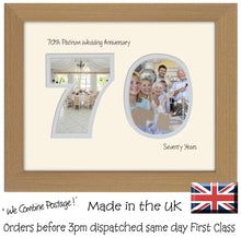 "70th Platinum Wedding Anniversary Photo Frame - Seventieth  Anniversary Landscape photo frame 1196F 9""x7"" mount size  , Choices of frames & Borders"
