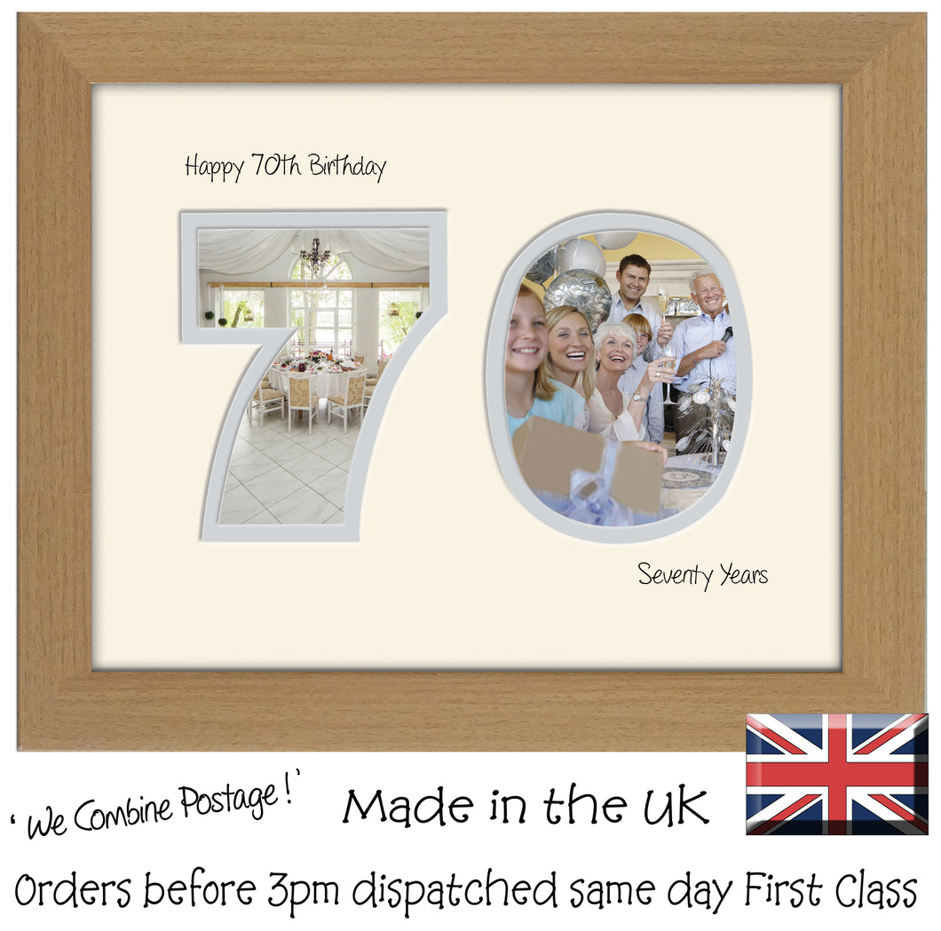70th Birthday Photo Frame - Seventieth Birthday Landscape photo frame 1187F 9