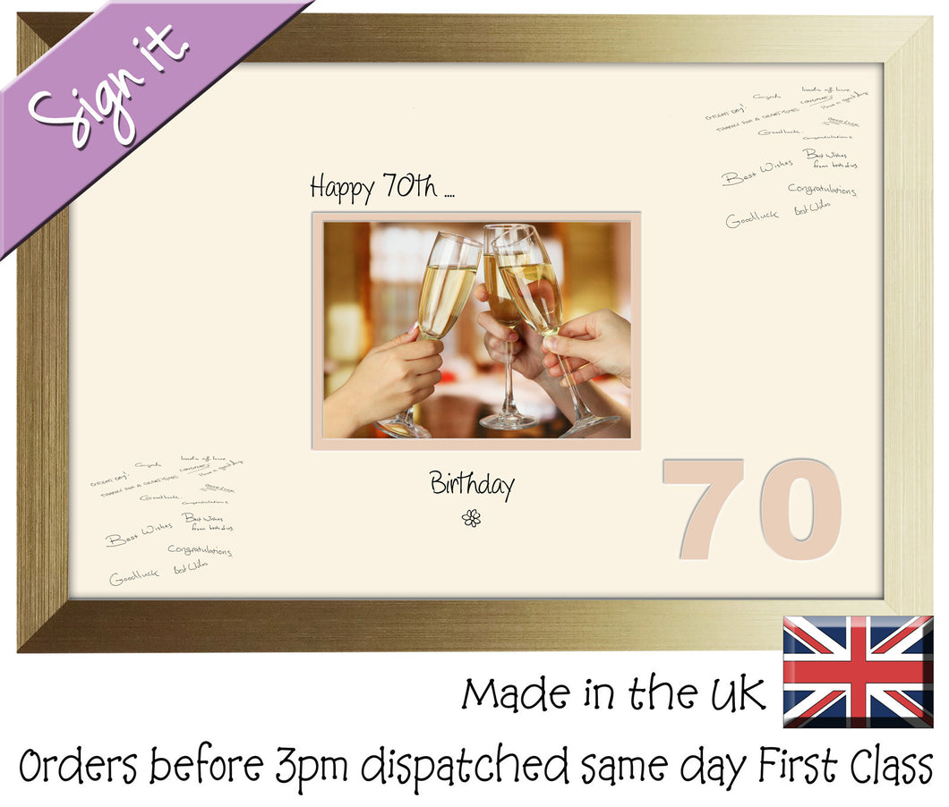 70th Birthday Signing Guest Photo Frame Gift 7
