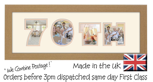 70th Birthday Anniversary Double Mounted Photo Frame 856A 450mm x 151mm mount size  , Choices of frames & Borders