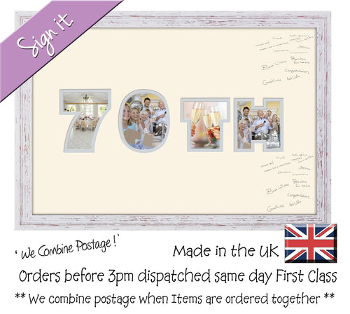 70th Birthday Anniversary Signing Double Mounted Photo Frame 876D 450mm x 297mm mount size  , Choices of frames & Borders