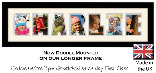Charlie Photo Frame - Charlie Name Word Photo Frame 1291DD 640mm x 151mm mount size  , Choices of frames & Borders