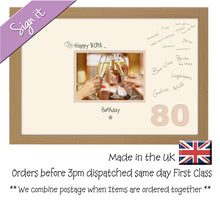 "80th Birthday Signing Guest Photo Frame Gift 7""x5"" Photo by Photos in a Word 688D 450mm x 297mm mount size  , Choices of frames & Borders"