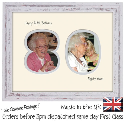 80th Birthday Photo Frame - Eightieth Birthday Landscape photo frame 1188F 9