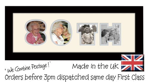 80th Birthday Double Mounted Photo Frame 857A 450mm x 151mm mount size  , Choices of frames & Borders