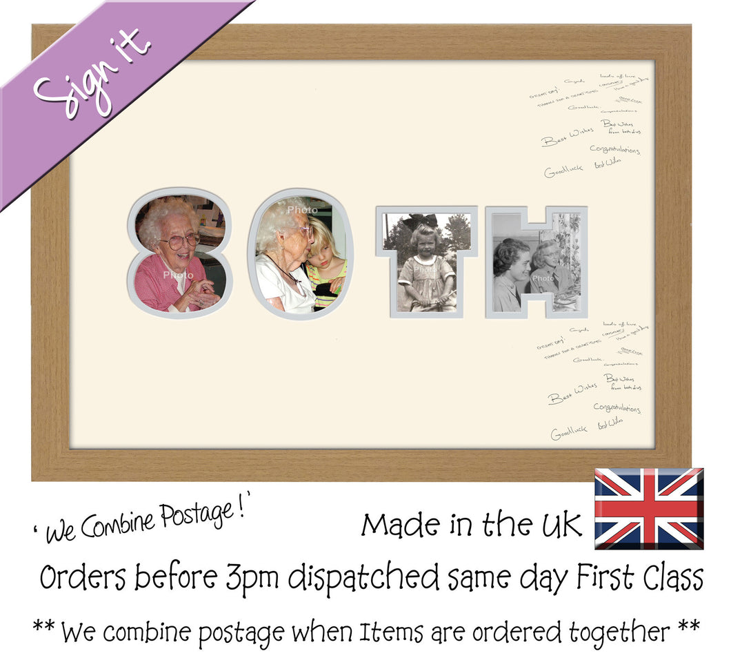 80th Birthday Anniversary Signing Double Mounted Photo Frame 877D 450mm x 297mm mount size  , Choices of frames & Borders