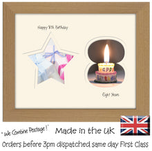 "8th Birthday Photo Frame - 8th Birthday with Star Landscape photo frame 1174F 9""x7"" mount size  , Choices of frames & Borders"