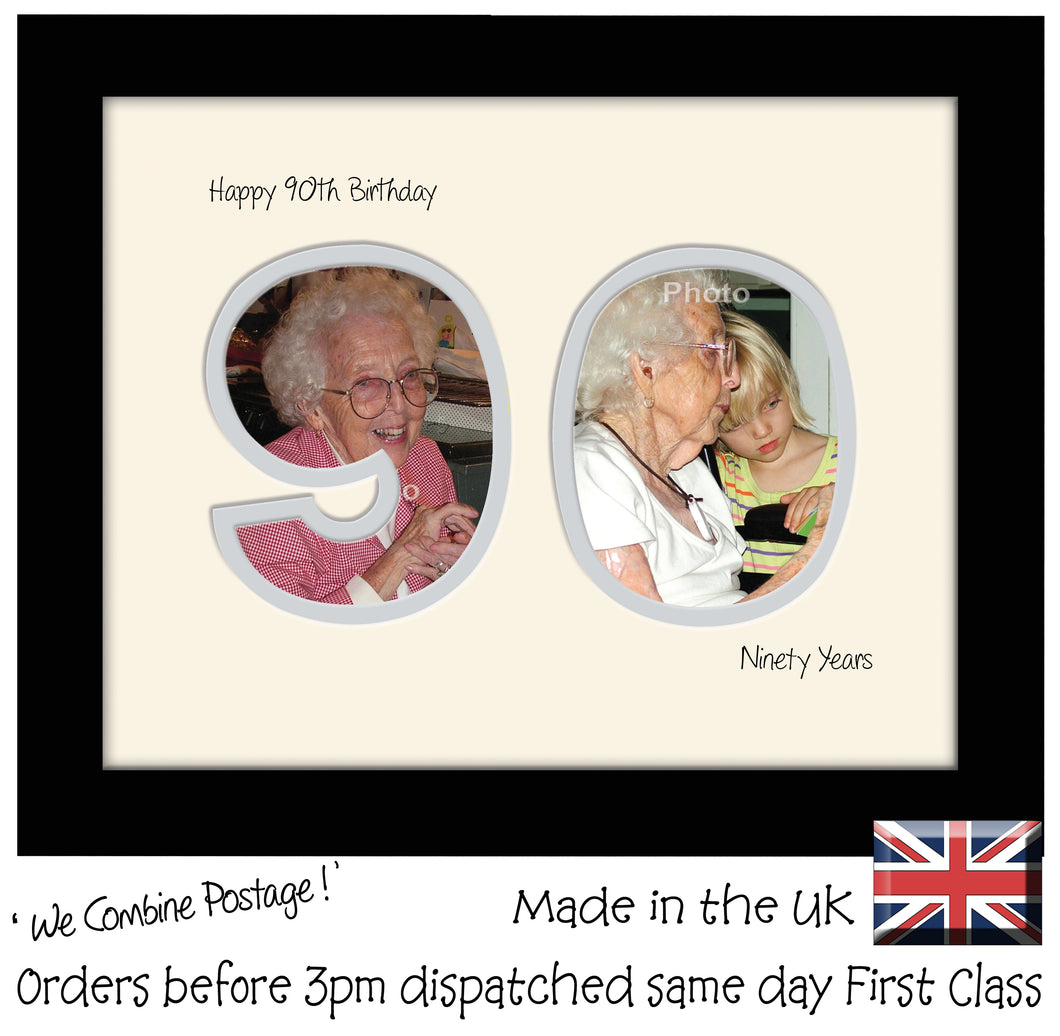 90th Birthday Photo Frame - Ninetieth Birthday Landscape photo frame 1189F 9