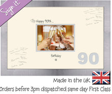 "90th Birthday Signing Guest Photo Frame Gift 7""x5"" Photo by Photos in a Word 688D 450mm x 297mm mount size  , Choices of frames & Borders"