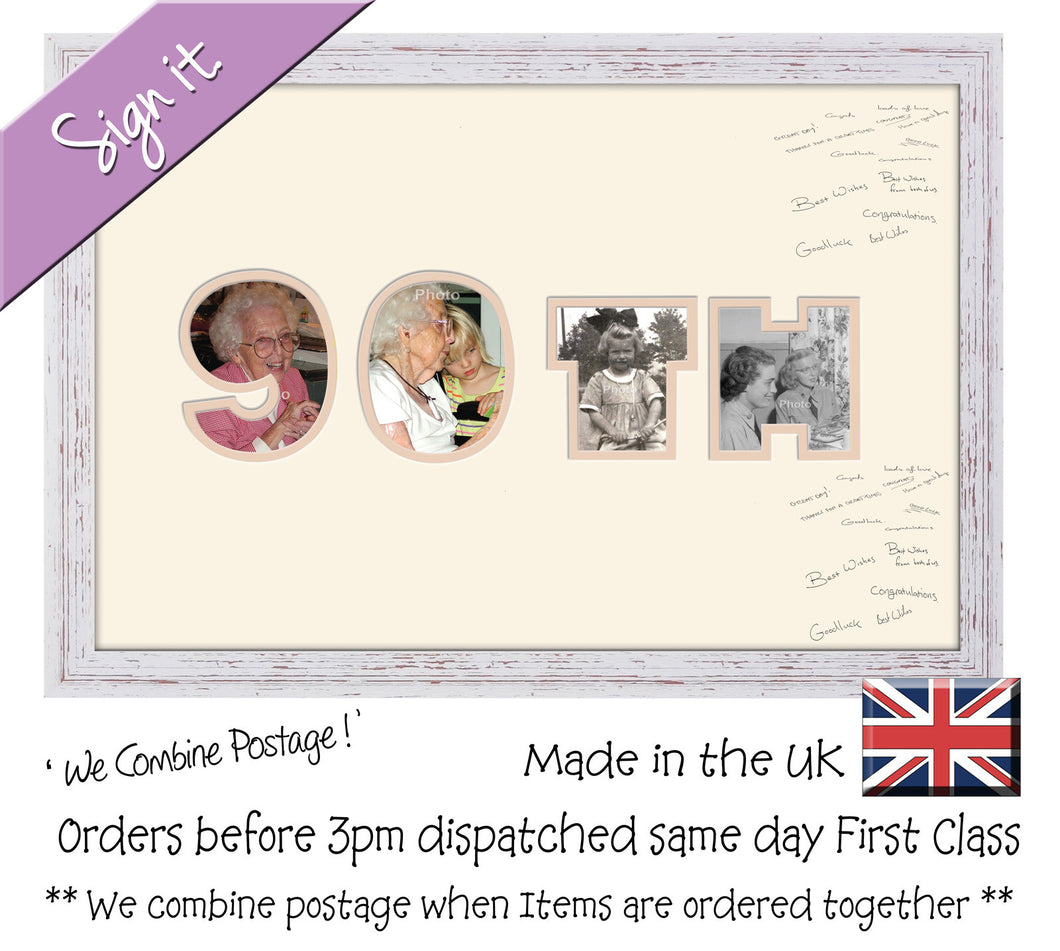 90th Birthday Anniversary Signing Double Mounted Photo Frame 878D 450mm x 297mm mount size  , Choices of frames & Borders