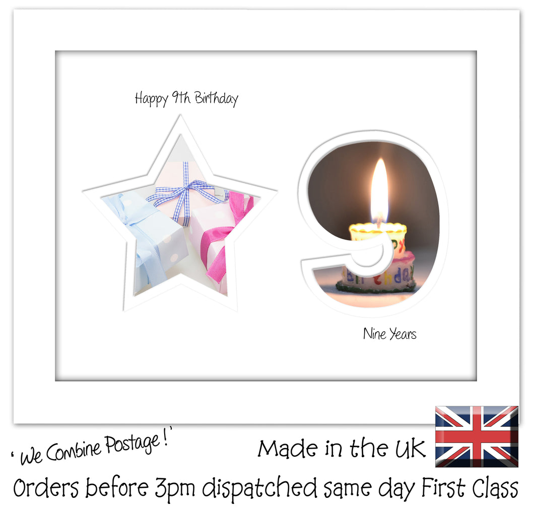 9th Birthday Photo Frame - 9th Birthday with Star Landscape photo frame 1176F 9
