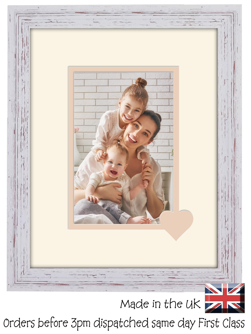 6x4 Photo Frame with Heart Plain Portrait Double Mounted 6