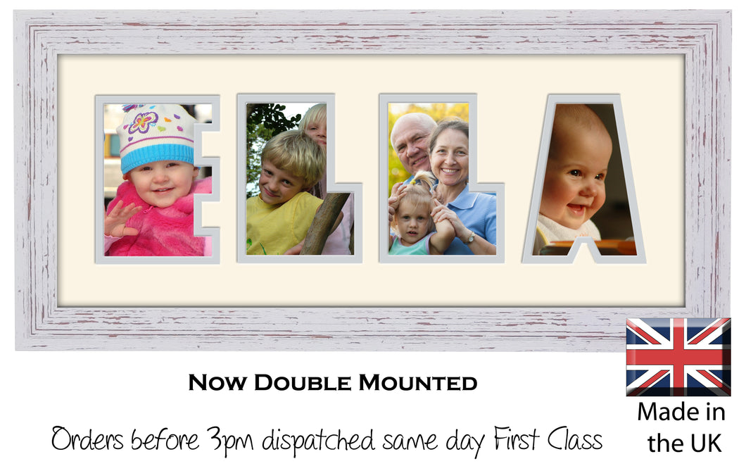 Ella Photo Frame - Ella Name Word Photo Frame 1314-BB 375mm x 151mm mount size  , Choices of frames & Borders