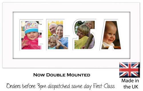 Elsa Photo Frame - Elsa Name Word Photo Frame 1332-BB 375mm x 151mm mount size  , Choices of frames & Borders