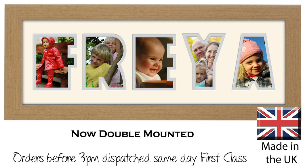 Freya Photo Frame - Freya Name Word Photo Frame 1302A 450mm x 151mm mount size  , Choices of frames & Borders