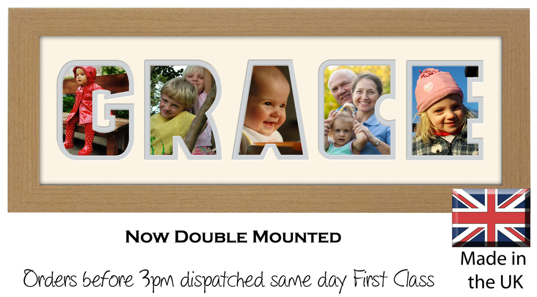 Grace Photo Frame - Grace Name Word Photo Frame 1298A 450mm x 151mm mount size  , Choices of frames & Borders
