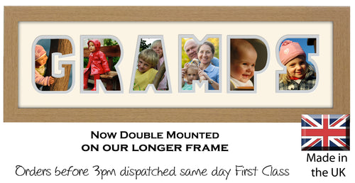 Gramps Photo Word Photo Frame Photos in a Word 1252-CC 545mm x 151mm mount size  , Choices of frames & Borders