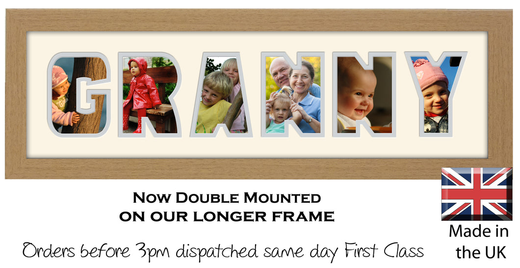 Granny Photo Frame - Granny Word Photo Frame 60CC 545mm x 151mm mount size  , Choices of frames & Borders