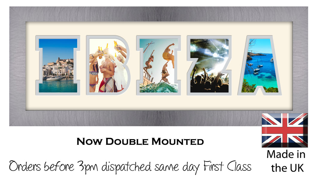 Ibiza Photo Frame - Ibiza Holiday Word Photo Frame 1261A 450mm x 151mm mount size  , Choices of frames & Borders