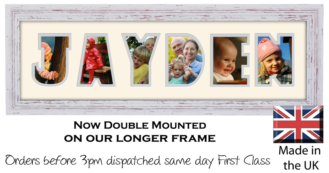 Jayden Photo Frame - Jayden Name Word Photo Frame 1311CC 545mm x 151mm mount size  , Choices of frames & Borders