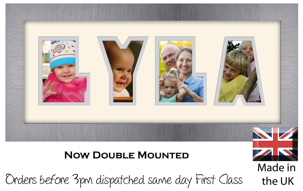 Lyla Photo Frame - Lyla Name Word Photo Frame 1320-BB 375mm x 151mm mount size  , Choices of frames & Borders