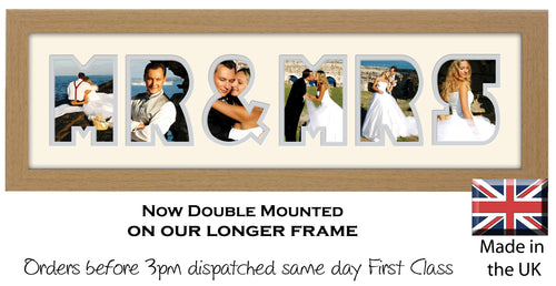 Mr & Mrs Photo Frame - Mr &Mrs Word Photo Frame 56CC 545mm x 151mm mount size  , Choices of frames & Borders