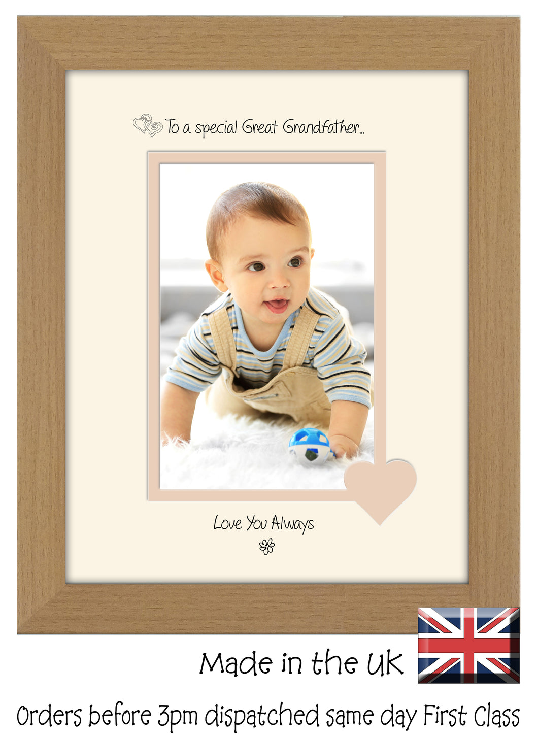 Great Grandfather Photo Frame - To a Special Great Grandfather ... Love you Always Portrait photo frame 6